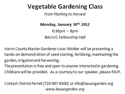 Vegetable Class Flier